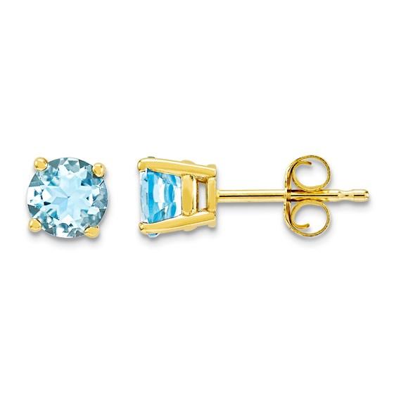 14k Aquamarine Post Stud Earrings