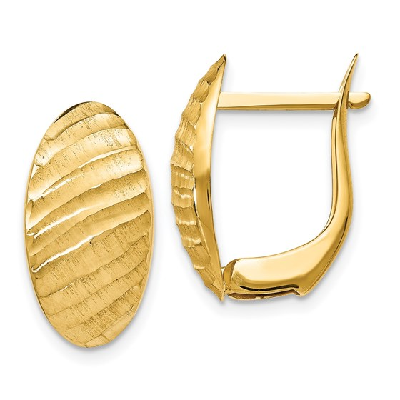 14K Brushed and Textured Hoop Earrings - 19 mm