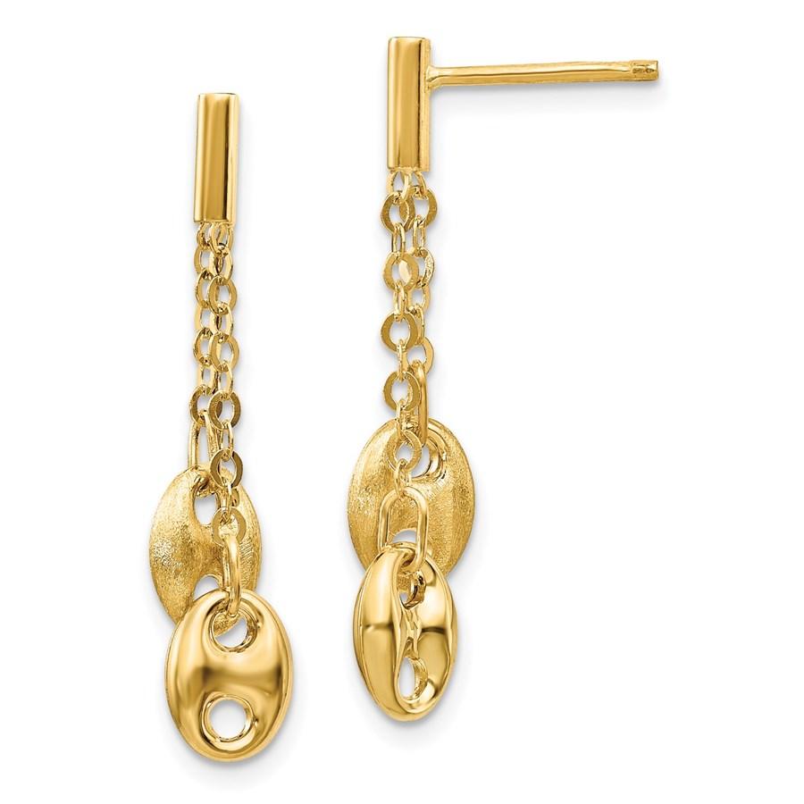 14K Brushed & Polished Post Dangle Earrings - 30 mm