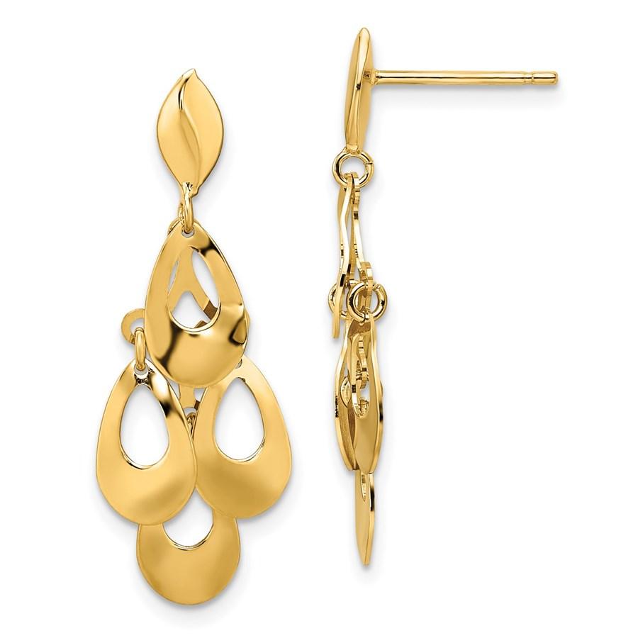 14K Brushed Post Dangle Chandelier Earrings - 32.5 mm