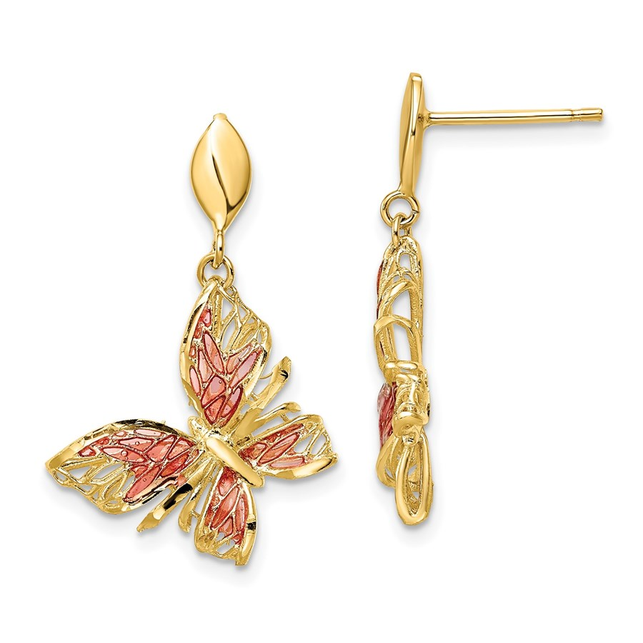 14K D/C Pink Enamel Butterfly Post Dangle Earrings - 28 mm