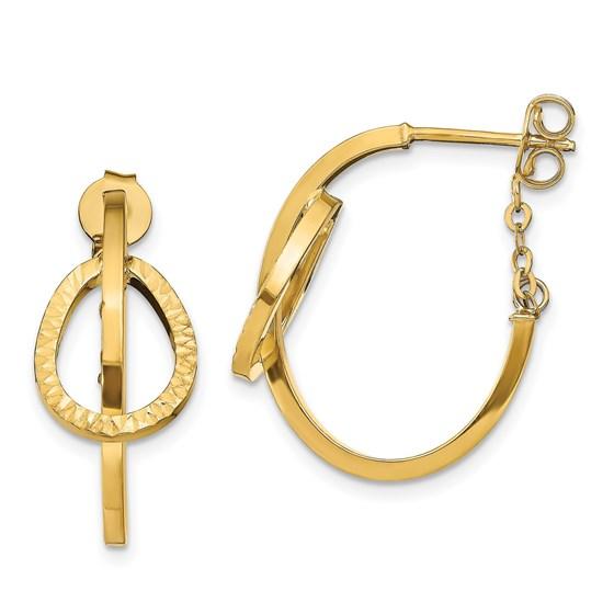 14K D/C Polished Hoop w/ Chain Earrings - 23 mm