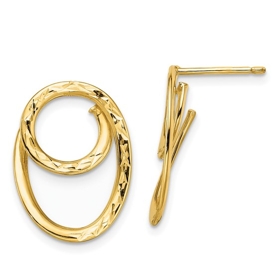 14K D/C Post Dangle Earrings - 23.25 mm