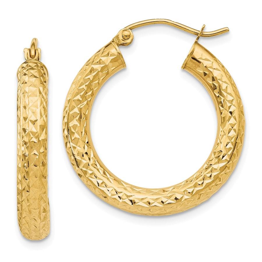 14k Diamond-cut 4 mm Round Hoop Earrings