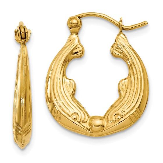 14k Dolphin Hoop Earrings