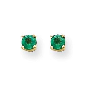 14k Emerald Post Earrings