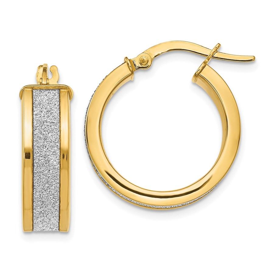 14K Fancy Glimmer Hoop Earrings - 20 mm