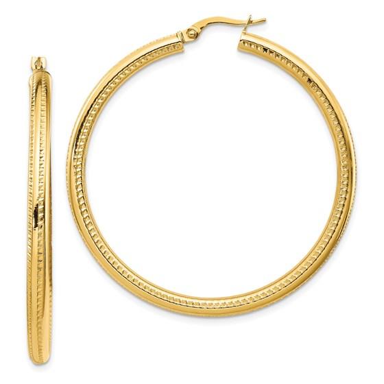 14K Fancy Hoop Earrings - 46 mm
