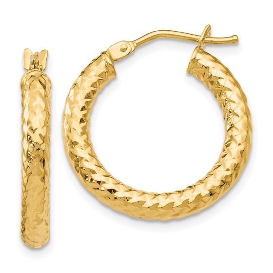 14K ForeverLite Polished and Textured Hoop Earrings - 22 mm