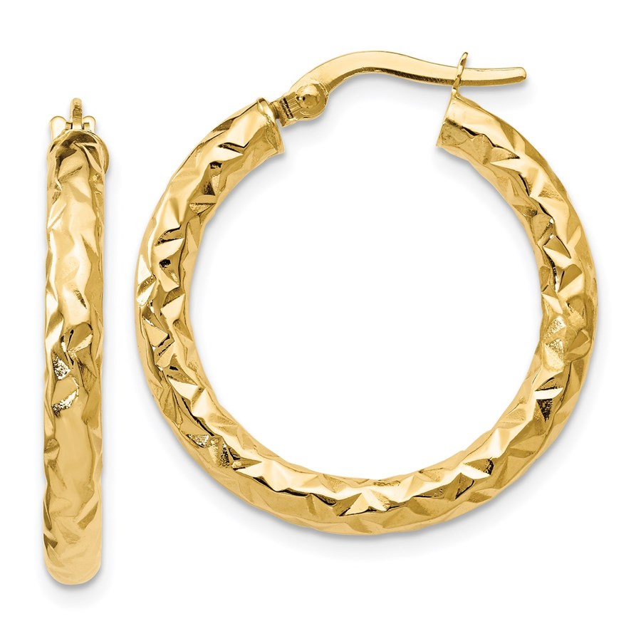 14K ForeverLite Polished and Textured Hoop Earrings - 25 mm