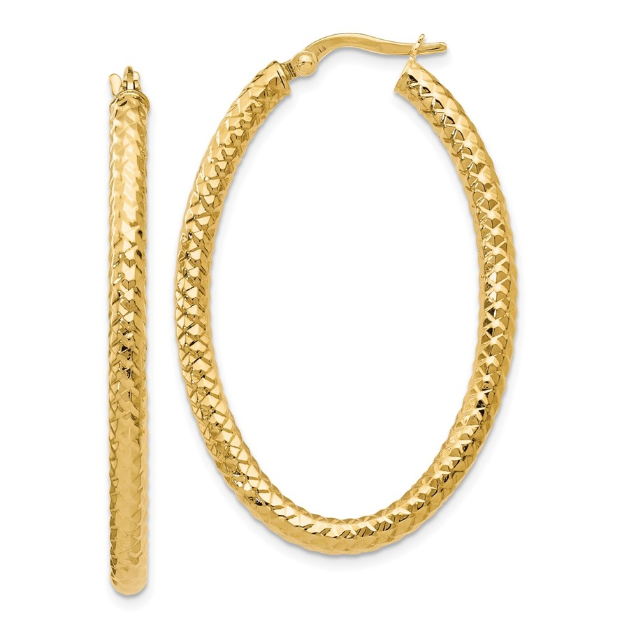 14K ForeverLite Polished and Textured Oval Hoop Earrings - 42 mm