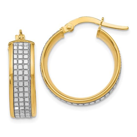 14K Glimmer Hoop Polished Earrings - 22 mm