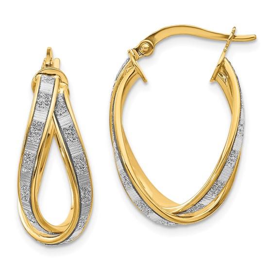 14K Glimmer Infused Criss Cross Earrings - 25 mm
