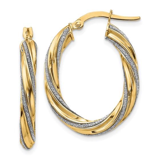 14K Glimmer Infused Oval Hoop Earrings - 28 mm