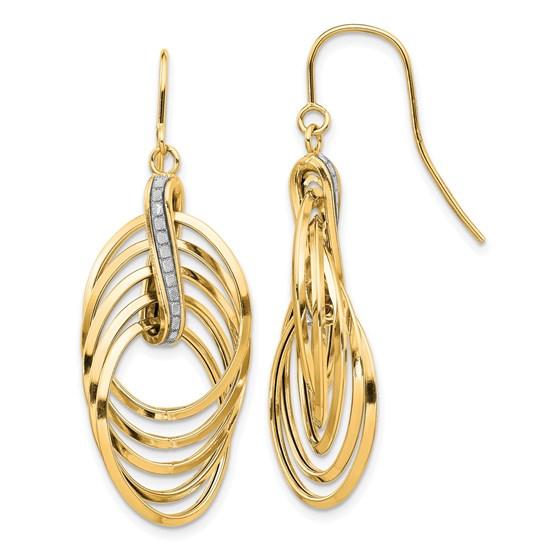 14K Glimmer Infused Ovals Dangle Earrings - 45 mm