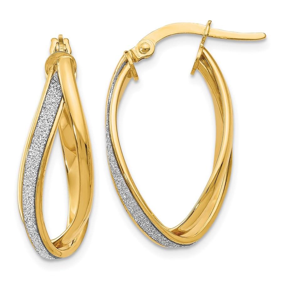 14K Glimmer Infused Twisted Hoop Earrings - 27 mm