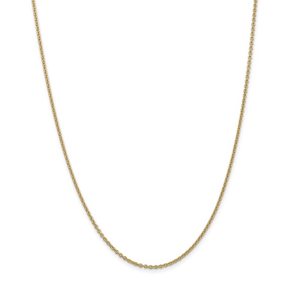14k Gold 1.8 mm Solid Polished Cable Chain Necklace - 24 in.