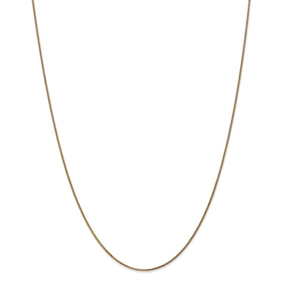 14k Gold 1 mm Solid Diamond-cut Spiga Chain Necklace - 16 in.