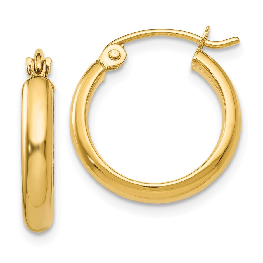 14k Gold 15 mm Hoop Earring