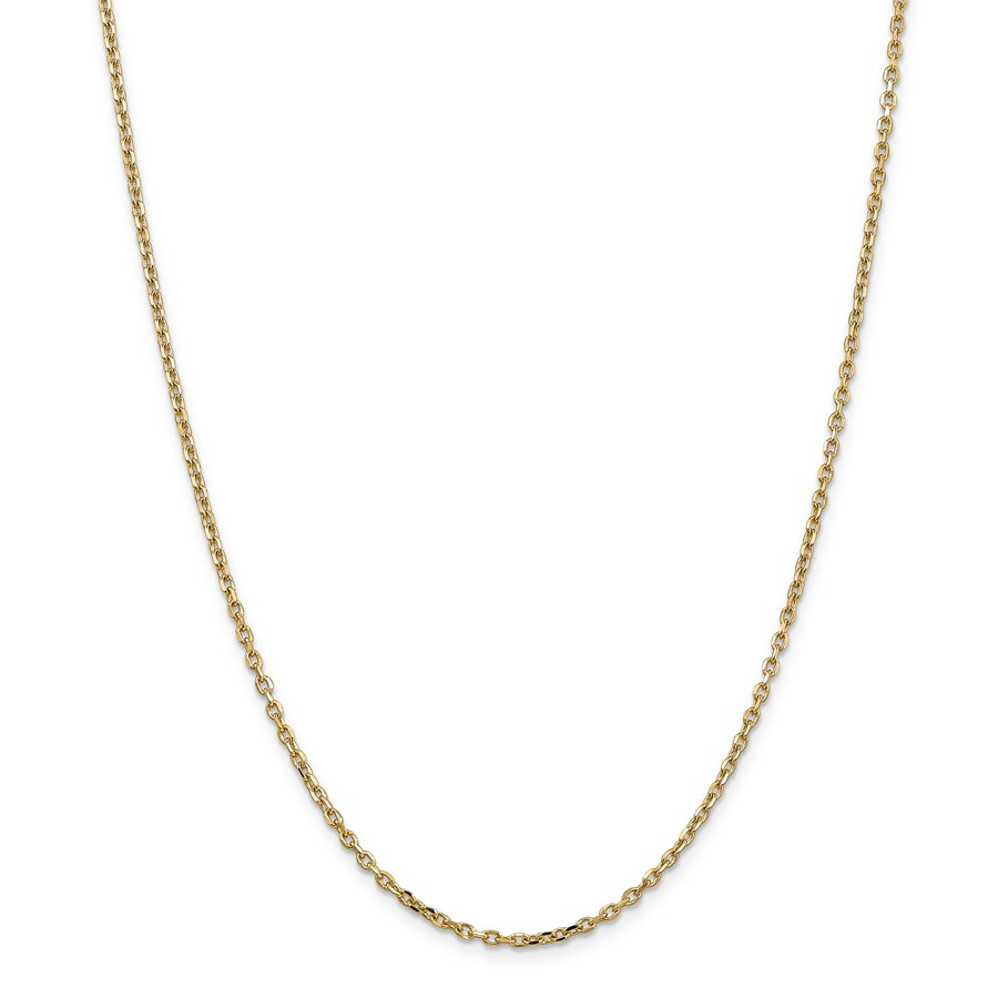 14k Gold 2.2 mm Diamond-cut Cable Chain Necklace - 24 in.