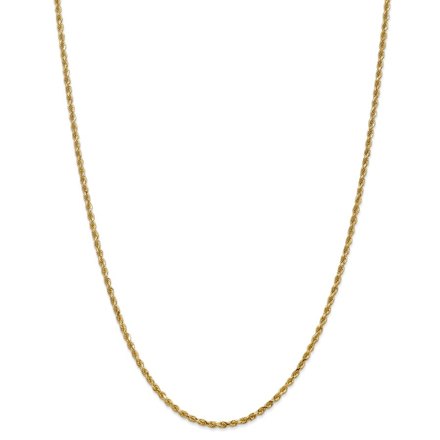 14k Gold 2.25 mm Diamond Cut Rope w/Lobster Clasp Chain - 24 in.