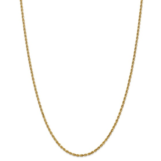 14k Gold 2.25 mm Diamond-cut Rope with Chain Necklace - 22 in.