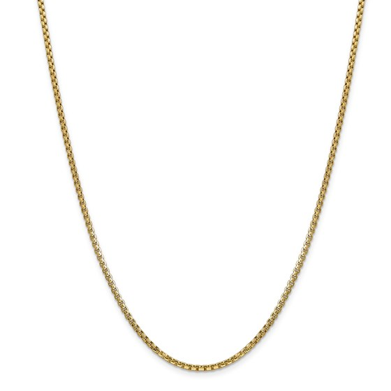 14k Gold 2.45 mm Hollow Round Box Chain Necklace - 20 in.