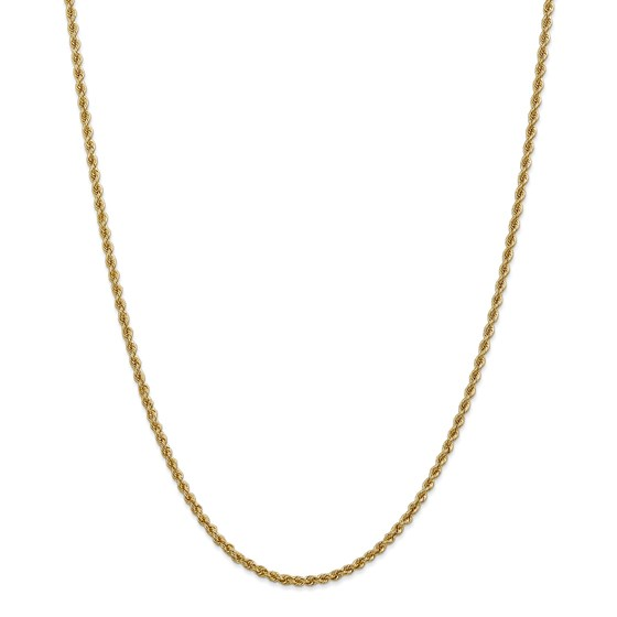 14k Gold 2.5 mm Handmade Regular Rope Chain Necklace - 24 in.