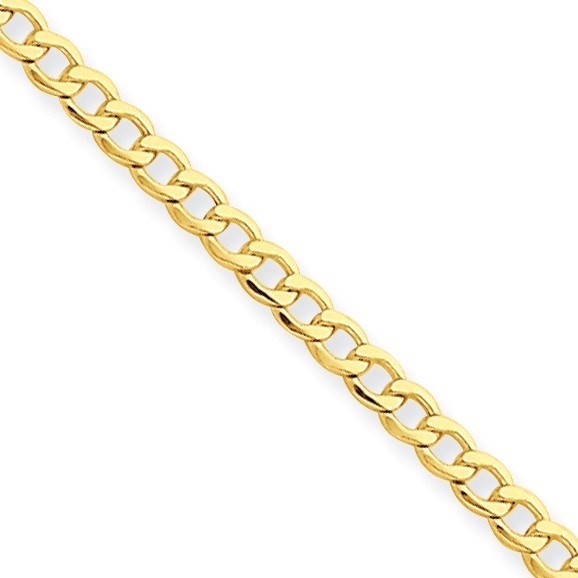 14k Gold 2.5 mm Semi-Solid Curb Link Chain Bracelet - 7 in.