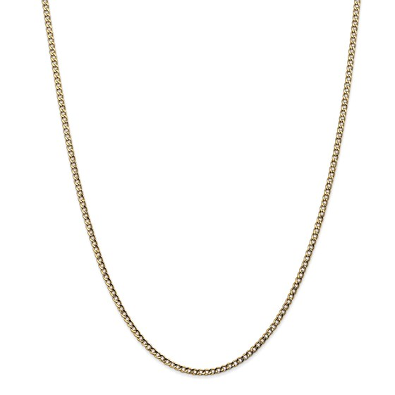 14k Gold 2.5 mm Semi-Solid Curb Link Chain Necklace - 18 in.