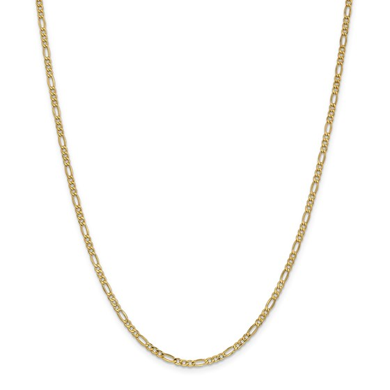 14k Gold 2.5 mm Semi-Solid Figaro Chain Necklace - 24 in.