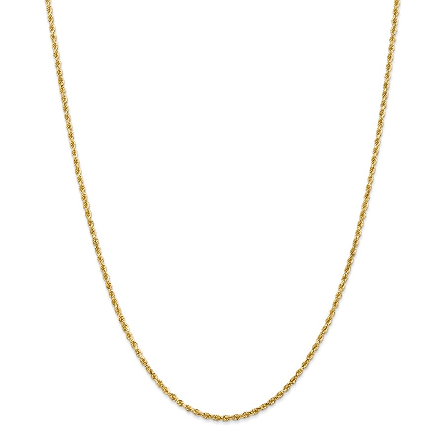 14k Gold 2 mm Diamond-cut Rope Clasp Chain Necklace - 18 in.