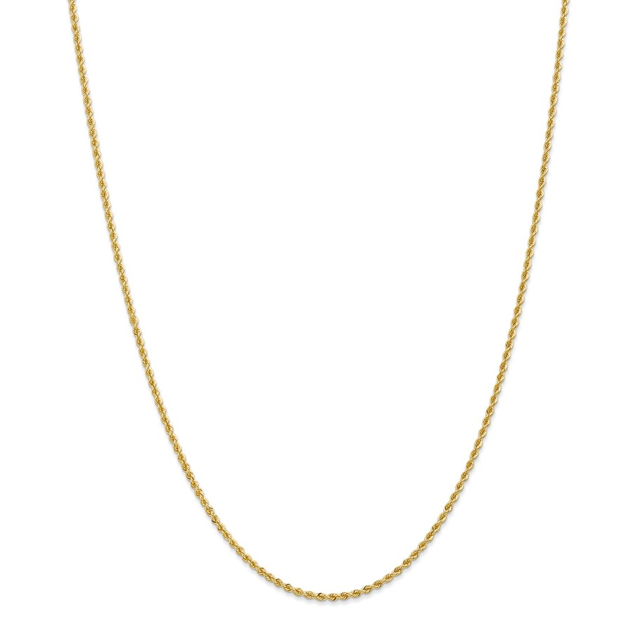 14k Gold 2 mm Handmade Regular Rope Chain Necklace - 24 in.