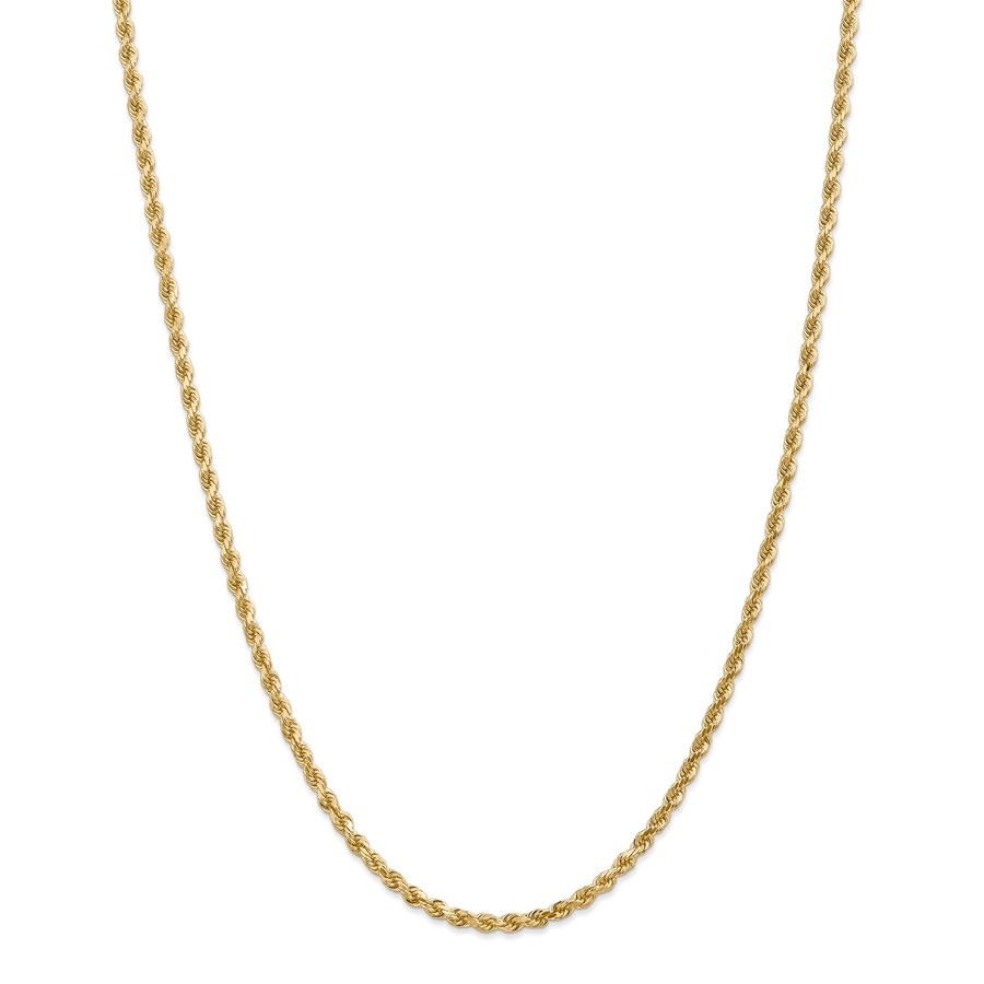 14k Gold 3.20 mm Diamond-cut Rope with Chain Necklace - 24 in.