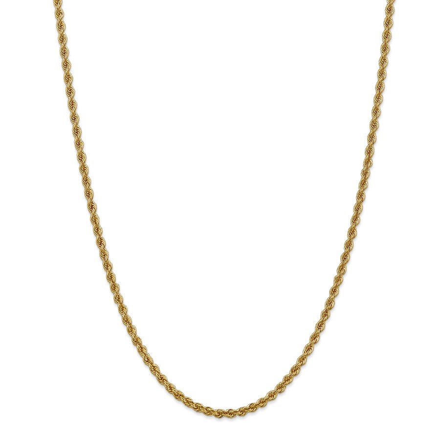 14k Gold 3 mm Handmade Regular Rope Chain Necklace - 24 in.