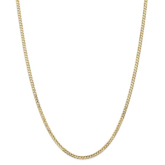 14k Gold 3 mm Open Concave Curb Chain Necklace - 20 in.