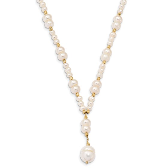 14k Gold 4-10 mm Pearl w/Diamond Cut Drop Necklace