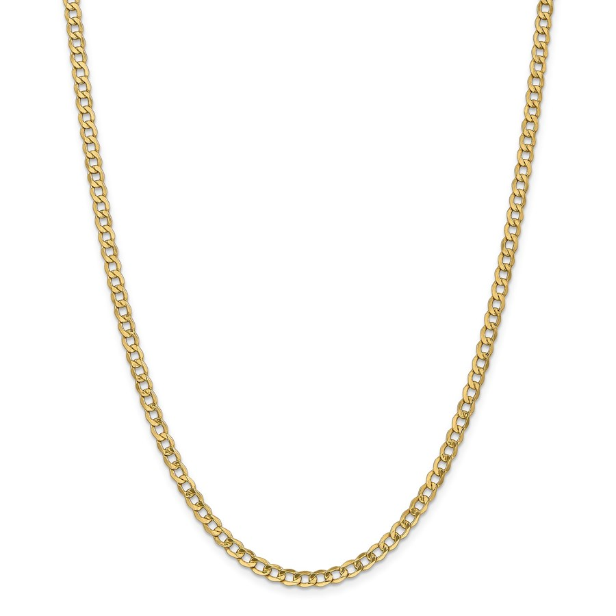 14k Gold 4.3 mm Semi-Solid Curb Link Chain Necklace - 24 in.