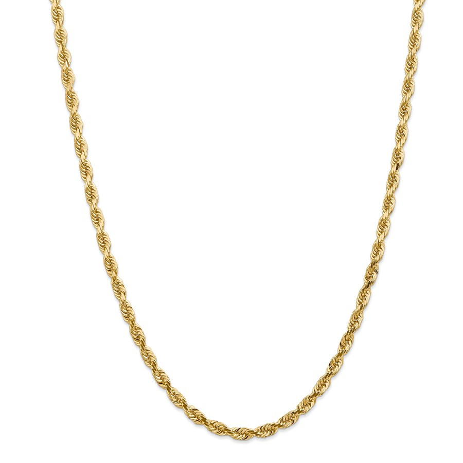 14k Gold 4.5 mm Diamond-cut Quadruple Rope Chain Necklace - 24 in