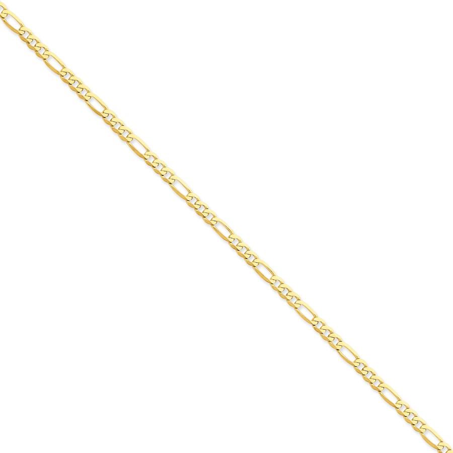 14k Gold 4 mm Flat Figaro Chain Bracelet - 7 in.