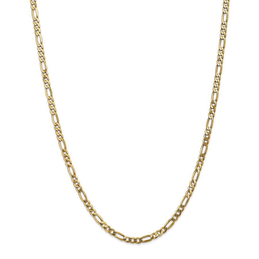 14k Gold 4 mm Flat Figaro Chain Necklace - 24 in.