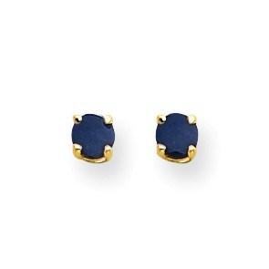 14k Gold 4 mm Sapphire Post Earrings