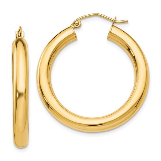 14k Gold 4 mm x 30 mm Polished Tube Hoop Earrings
