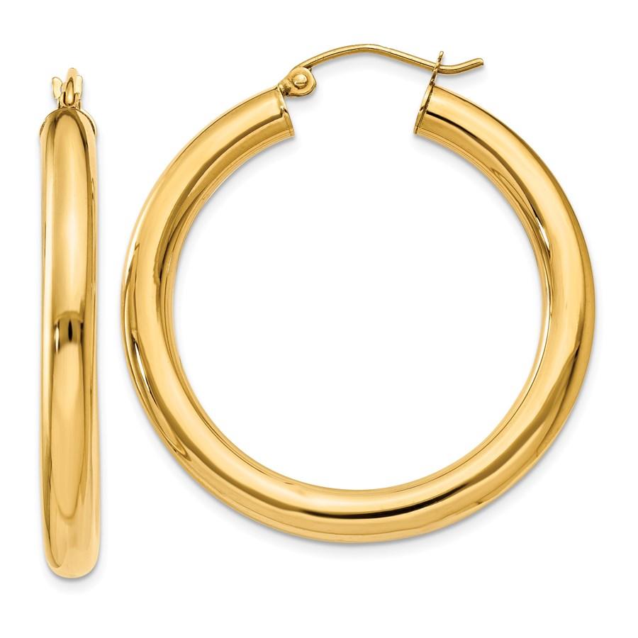 14k Gold 4 mm x 35 mm Polished Tube Hoop Earrings