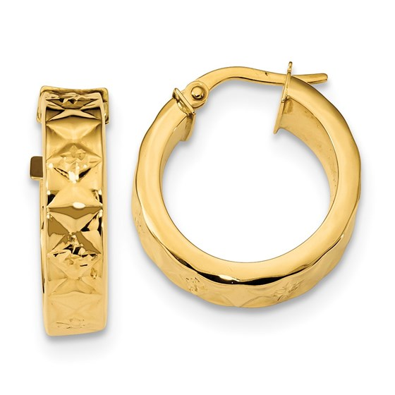 14k Gold 5.3 mm Polished & Textured Hoop Earrings