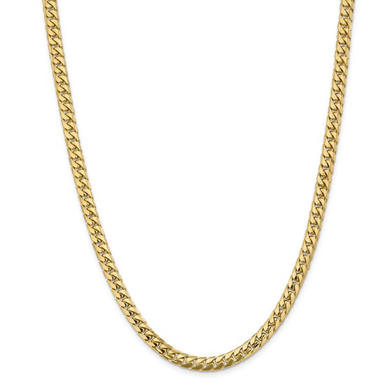 14k Gold 5.5 mm Solid Miami Cuban Chain Necklace - 24 in.
