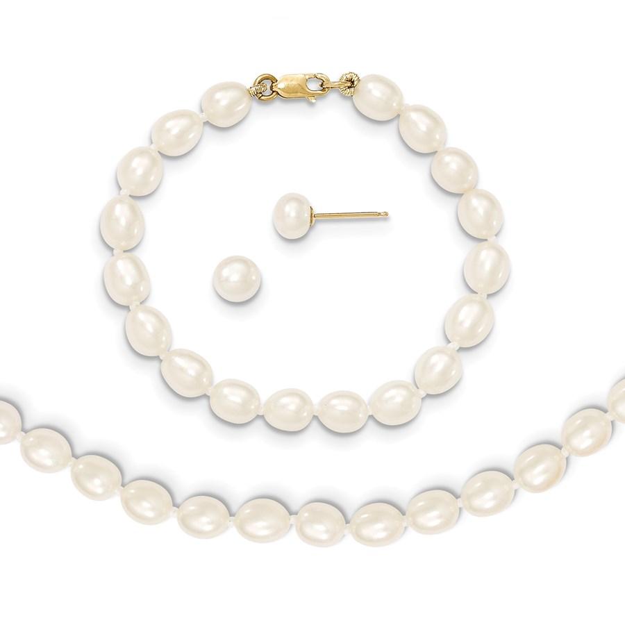 14k Gold 5-6 mm Cultured Pearl Bracelet, Necklace & Earrings