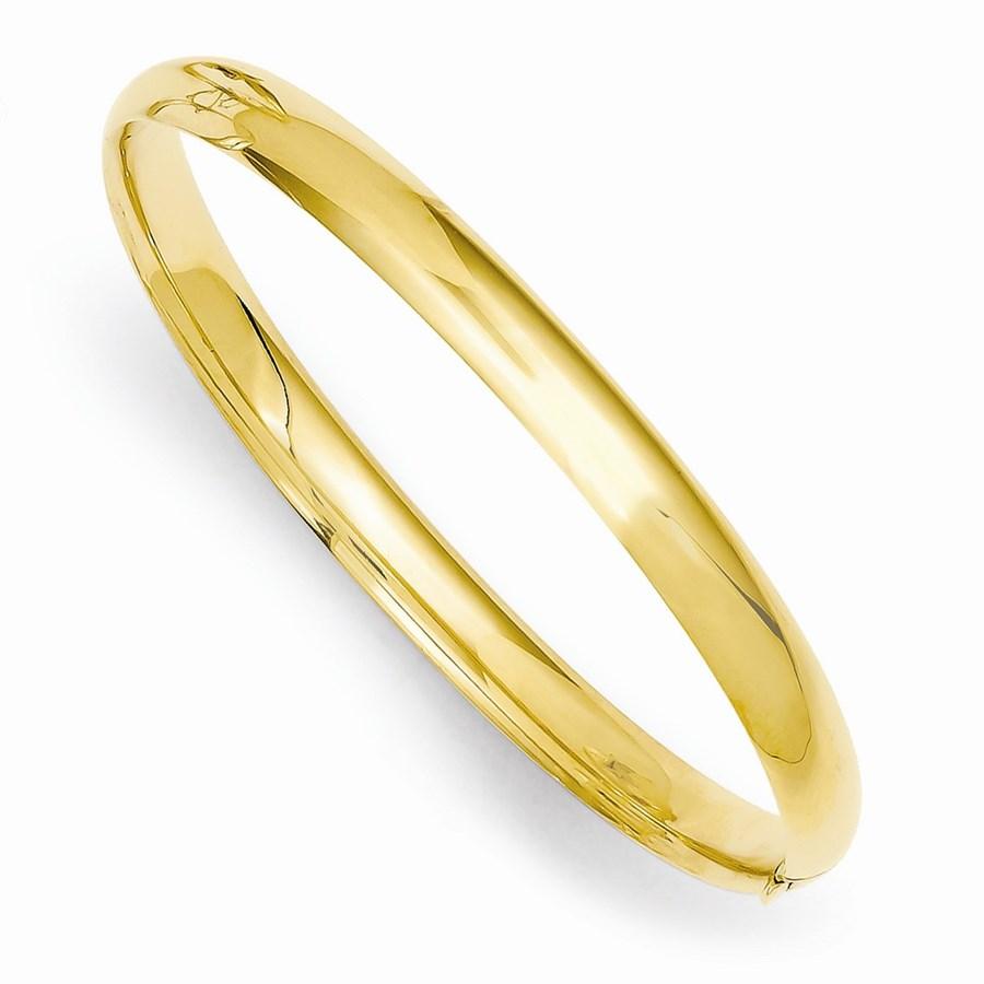 14k Gold 5 mm Polished Hinged Baby Bangle Bracelet