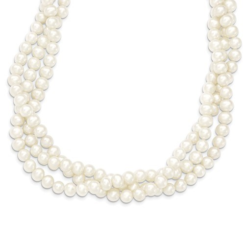 14k Gold 6-7 mm 3-Strand Cultured Pearl Necklace