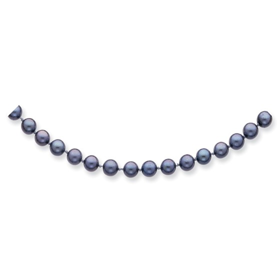 14k Gold 6-7 mm Black Saltwater Akoya Cultured Pearl Necklace